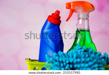 Cleaning equipment on light background