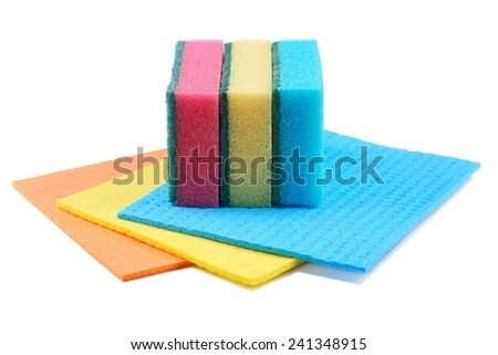 Cleaning equipment, sponge, cloths on a white background - stock photo