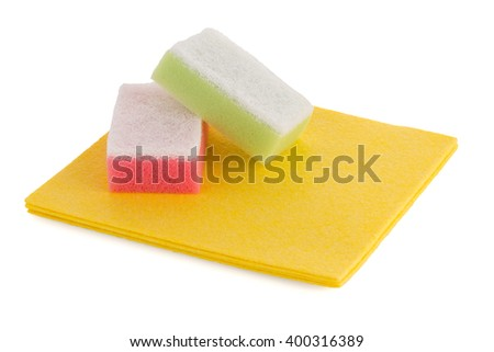 Cleaning equipment, sponges and cloth on a white background. - stock photo