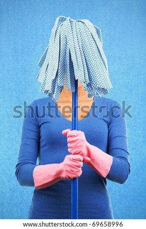 Cleaning funny woman holding mop ready for spring. - stock photo