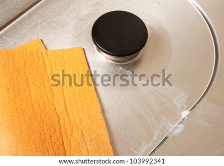Cleaning gas stove - stock photo