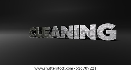 CLEANING - hammered metal finish text on black studio - 3D rendered royalty free stock photo. This image can be used for an online website banner ad or a print postcard.