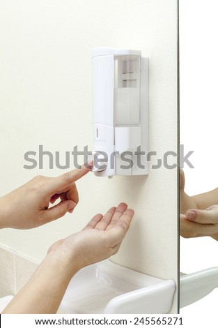 Cleaning hand gel in a box ready to use by pumping - stock photo