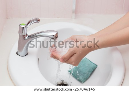 Cleaning Hands.  - stock photo