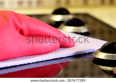 Cleaning hob stove - stock photo