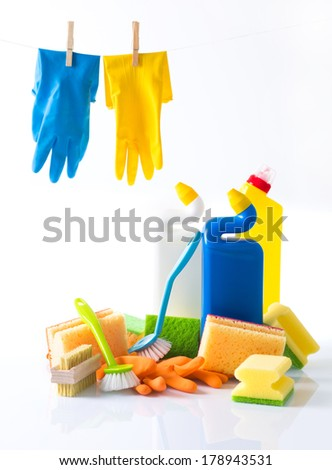 Cleaning items isolated on white  - stock photo