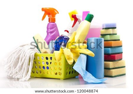 Cleaning items isolated on white background