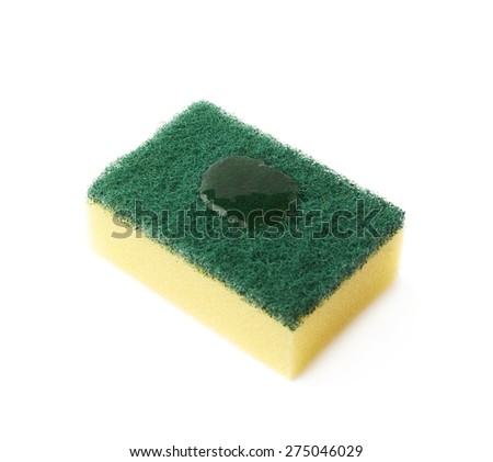 Cleaning kitchen dish washing sponge with the cleanser detergent drops applied isolated over the white background - stock photo