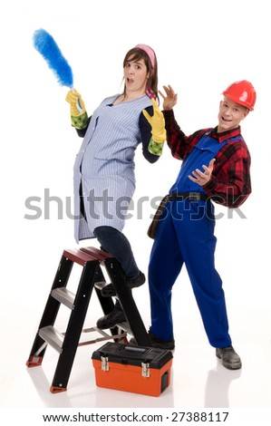 cleaning lady and a construction worker in a funny situation - stock photo