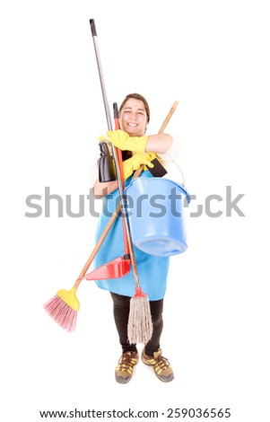 cleaning lady isolated in white background