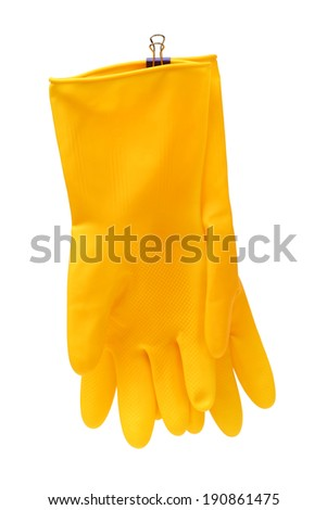 Cleaning latex gloves isolated on white background  - stock photo