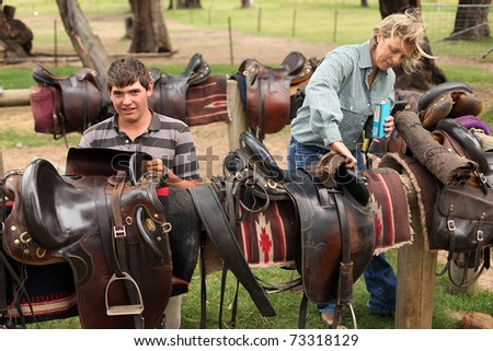 cleaning leather saddles - stock photo