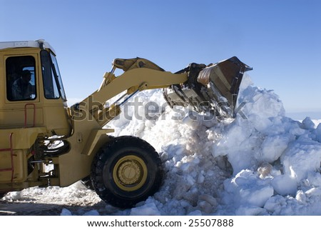 Cleaning machine to make snow - Serra da Estrela - Portugal - Europe - stock photo