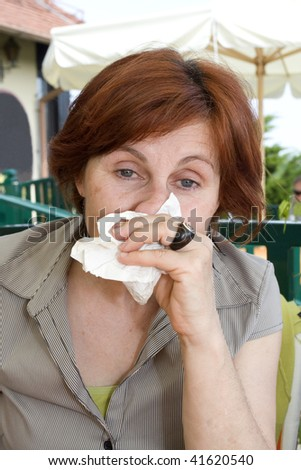 cleaning nose - stock photo
