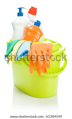 cleaning objects in bucket - stock photo