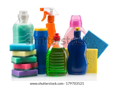 Cleaning product plastic container for house clean on white background - stock photo