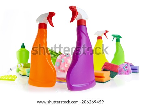 Cleaning product plastic container for house clean on white background