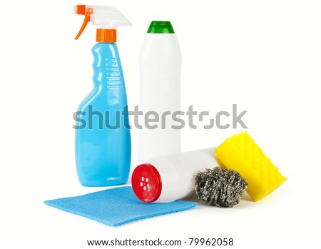 Cleaning products. Bottles, sponges and gloves