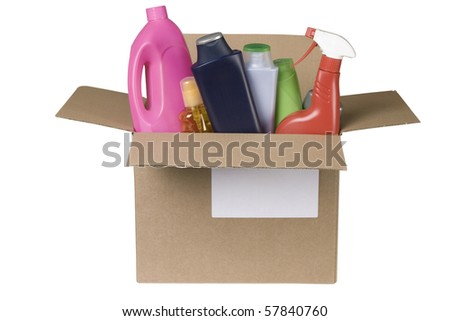cleaning products in cardboard box on white background - stock photo