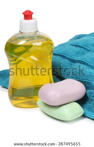 Cleaning products in plastic bottle - stock photo