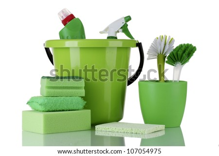 cleaning products isolated on white - stock photo