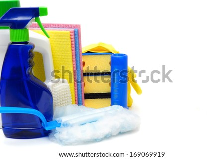 cleaning products isolated over white - stock photo