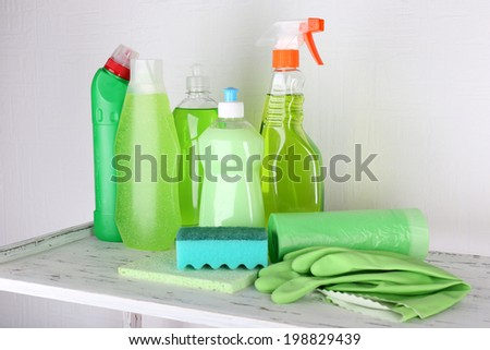 Cleaning products on shelf - stock photo