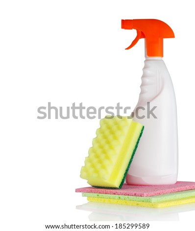 Cleaning products on white background - stock photo