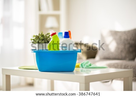 Cleaning products prepared for cleaning - stock photo