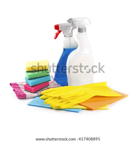 cleaning service products isolated on white background - stock photo