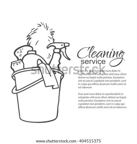 Cleaning services. Hand drawn spray and dust collector, rag, sponge. Cleaning homes and offices. Bucket with cleaning cleaners. Black and white painted bucket. Easy cleaning. illustration - stock photo