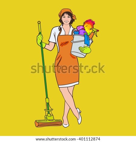 Cleaning Services Cleaner Mop Cleaning Homes Stock Illustration ...
