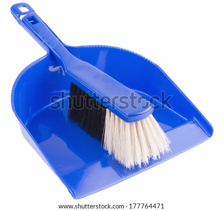 Cleaning set of dust pan and brush