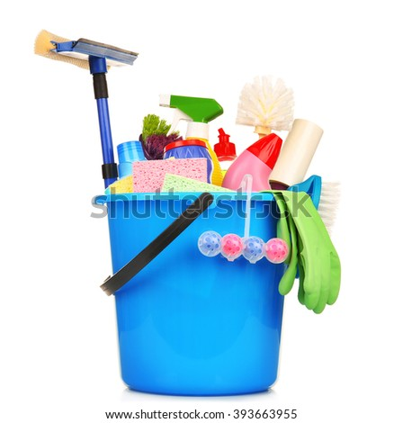 Cleaning set with tools and products in plastic bucket, isolated on white - stock photo