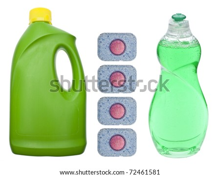 Cleaning Soaps for Washing Dishes Isolated on White with a Clipping Path. - stock photo