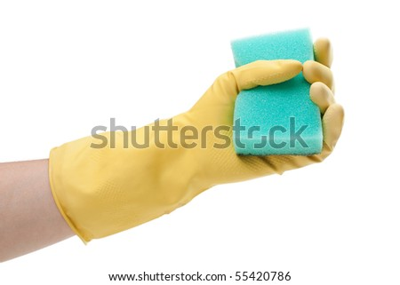 Cleaning sponge in housework hand protective glove - stock photo