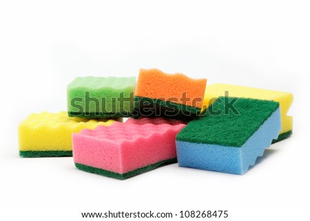 cleaning sponges on a white background. - stock photo