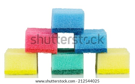 Cleaning sponges stack isolated on white background - stock photo