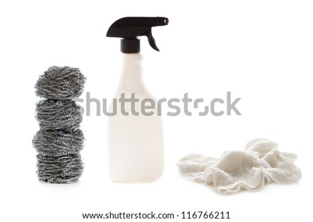 cleaning spray bottle and scouring pads isolated on a white background