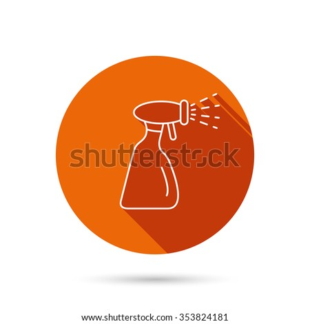 Cleaning spray bottle icon. Washing tool sign. Round orange web button with shadow. - stock photo