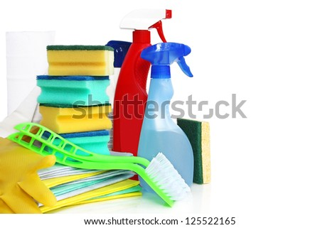 Cleaning stuff against white background - stock photo