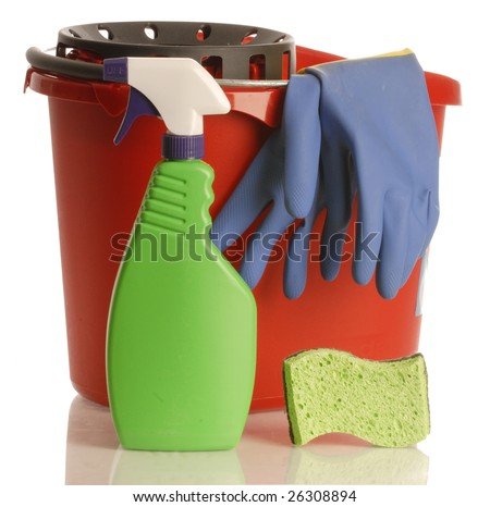 cleaning supplies - household cleaner with rubber gloves bucket and sponge - stock photo