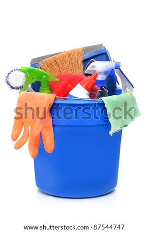 cleaning supplies in a blue bucket - stock photo