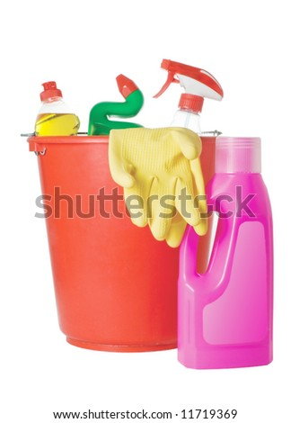 Cleaning supplies isolated on a white