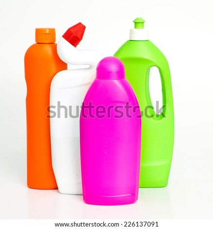 cleaning supplies  isolated over white background
