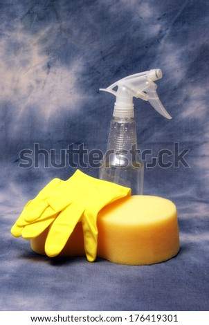 Cleaning supplies ready to get the job done. - stock photo