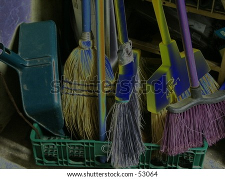 Cleaning supplies solarized - stock photo