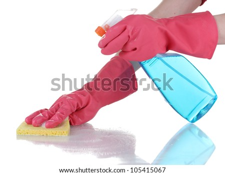Cleaning surface in bright gloves with sponge and cleaning product on white background