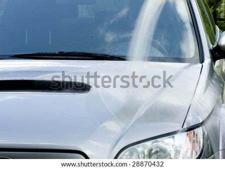 Cleaning the Car - washing process - stock photo