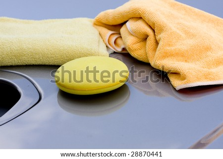 Cleaning the Car - waxing process - stock photo
